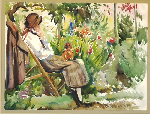 Woman sitting in a deckchair in a garden